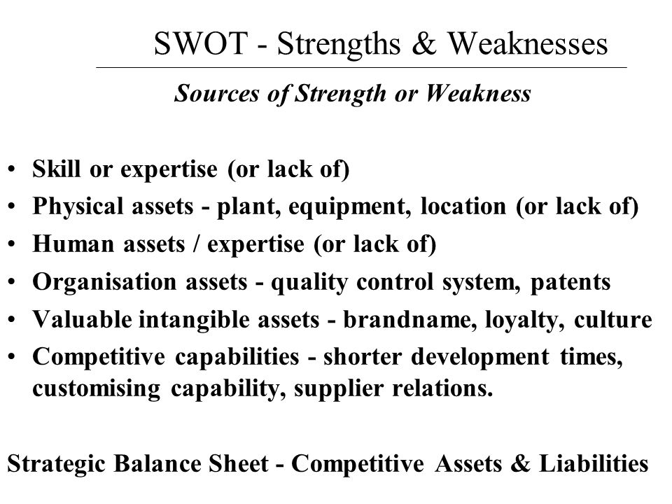 SWOT - Strengths & Weaknesses