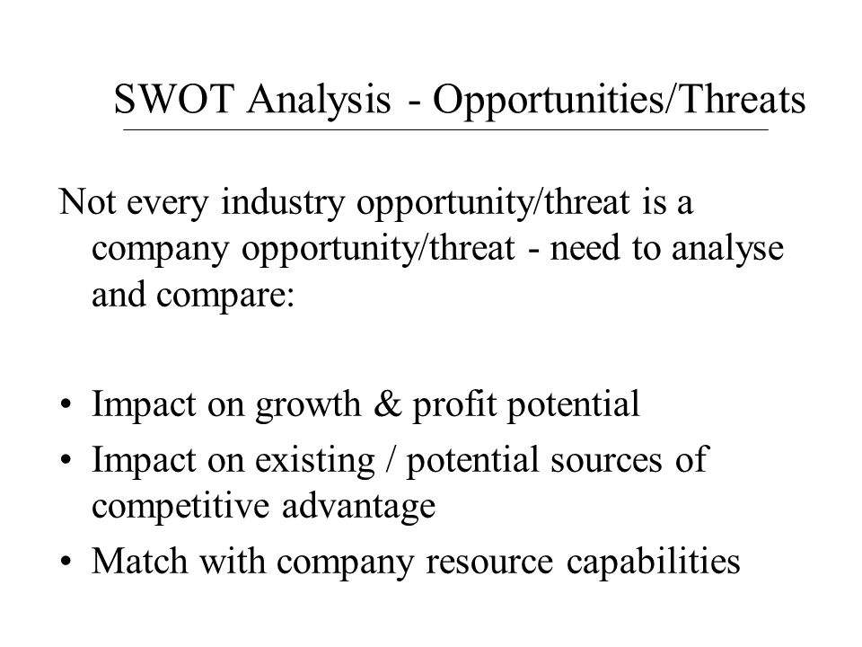 SWOT Analysis - Opportunities/Threats