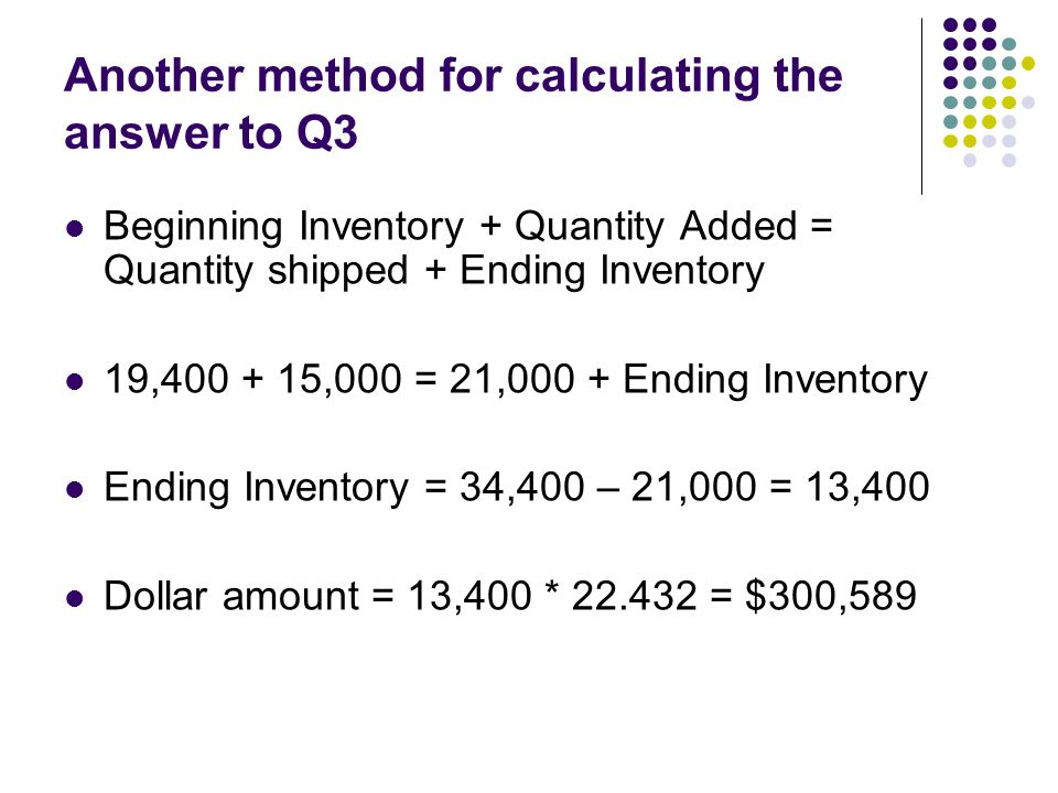 Another method for calculating the answer to Q3