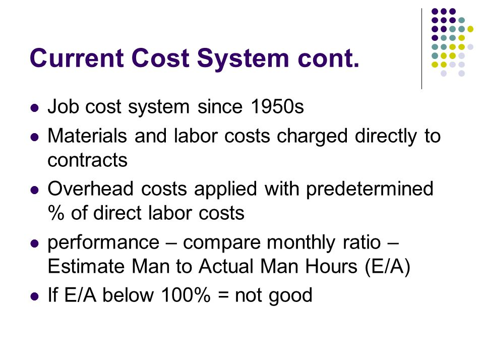Current Cost System cont.