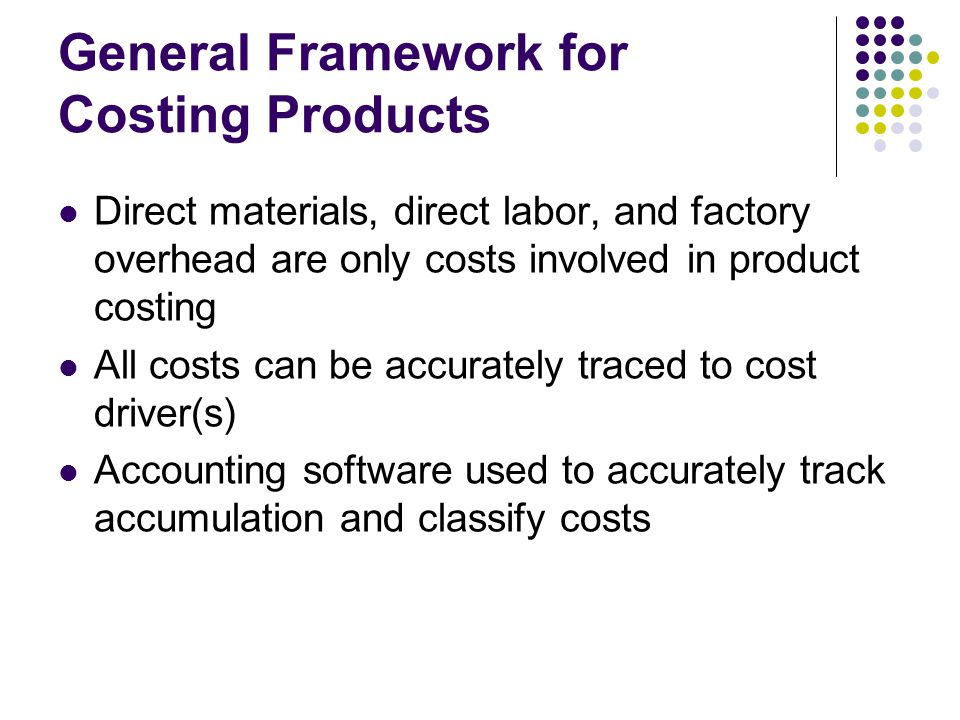 General Framework for Costing Products