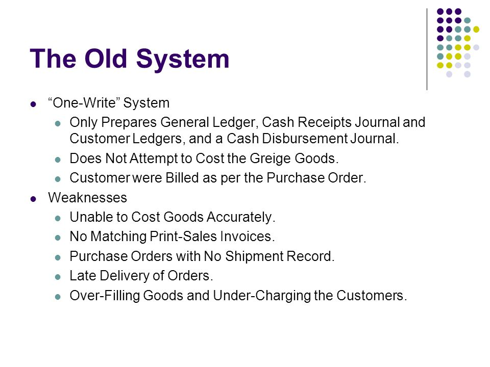 The Old System One-Write System