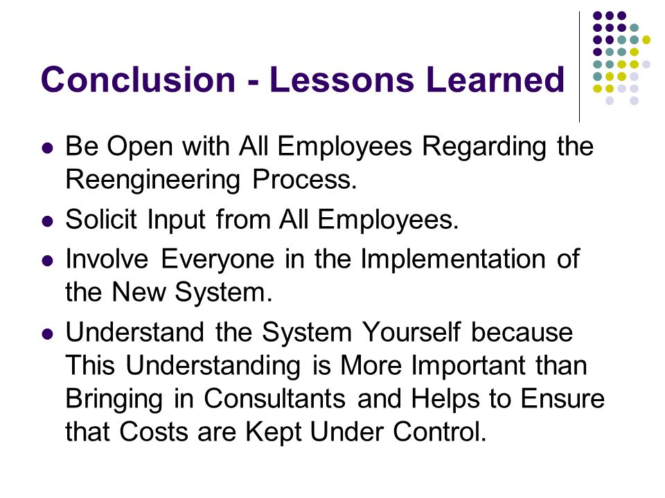 Conclusion - Lessons Learned