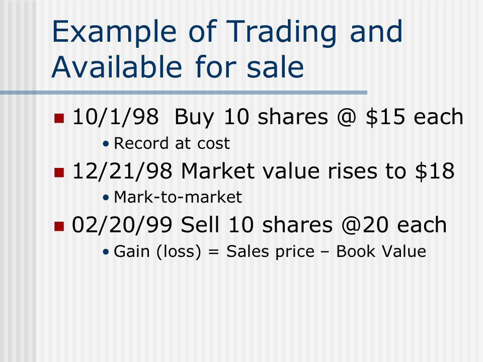 Example of Trading and Available for sale