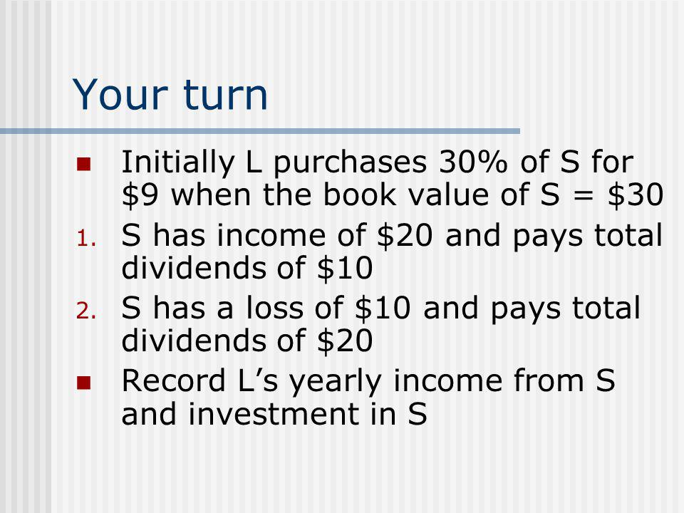Your turn Initially L purchases 30% of S for $9 when the book value of S = $30. S has income of $20 and pays total dividends of $10.