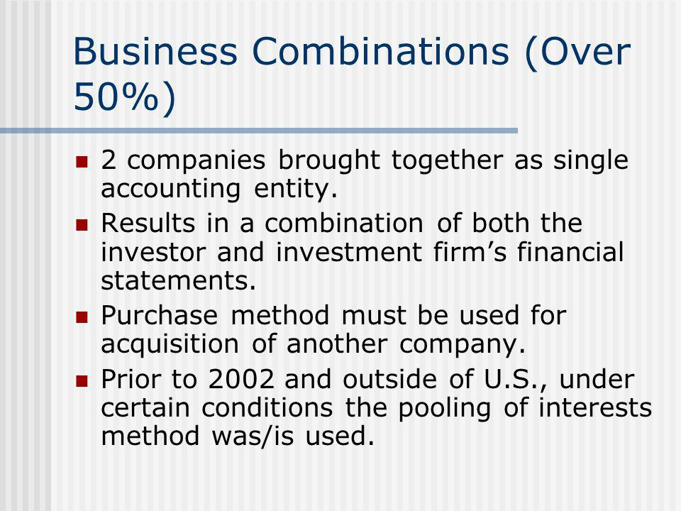 Business Combinations (Over 50%)