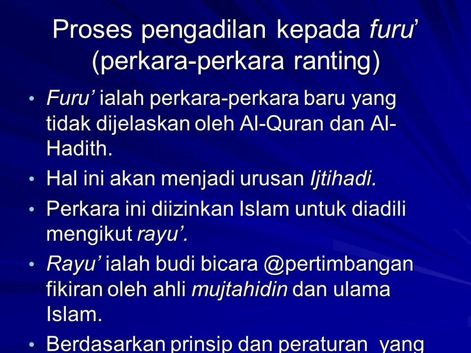 Proses pengadilan kepada furu' (perkara-perkara ranting)