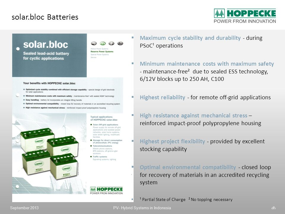 solar.bloc Batteries Maximum cycle stability and durability - during PSoC¹ operations.