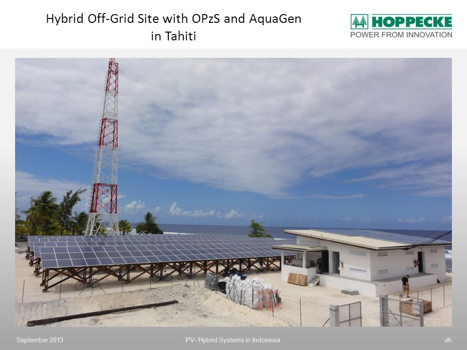 Hybrid Off-Grid Site with OPzS and AquaGen in Tahiti