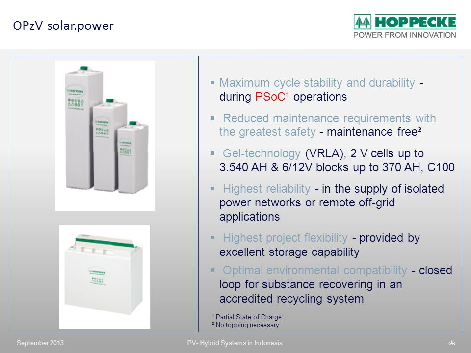OPzV solar.power Maximum cycle stability and durability - during PSoC¹ operations.