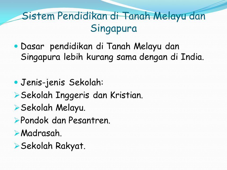 Sistem Pendidikan di Tanah Melayu dan Singapura
