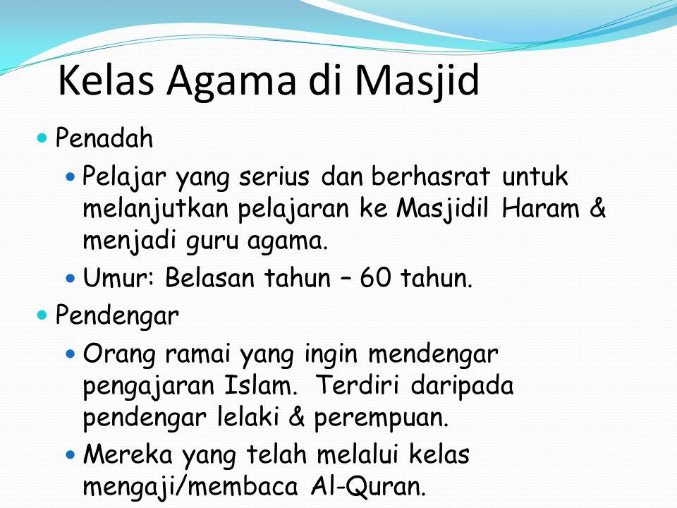 Kelas Agama di Masjid Penadah
