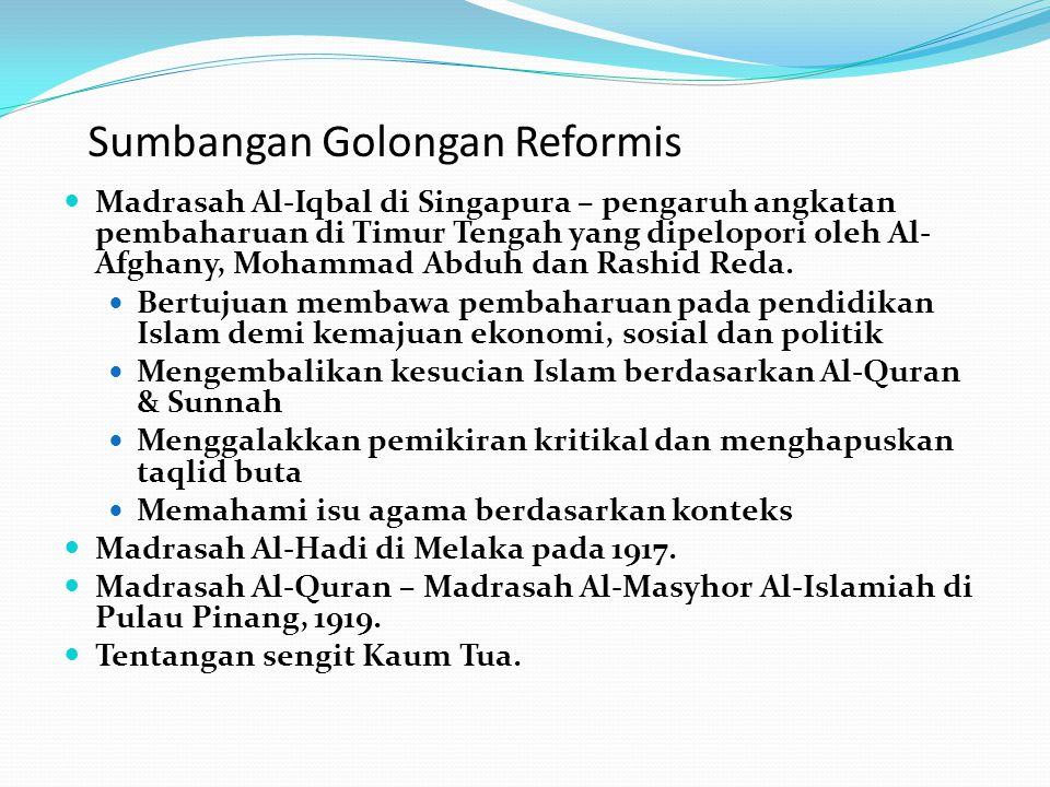 Sumbangan Golongan Reformis