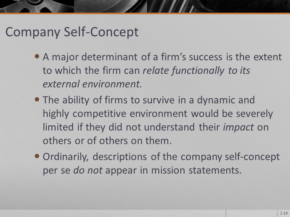 Company Self-Concept A major determinant of a firm's success is the extent to which the firm can relate functionally to its external environment.