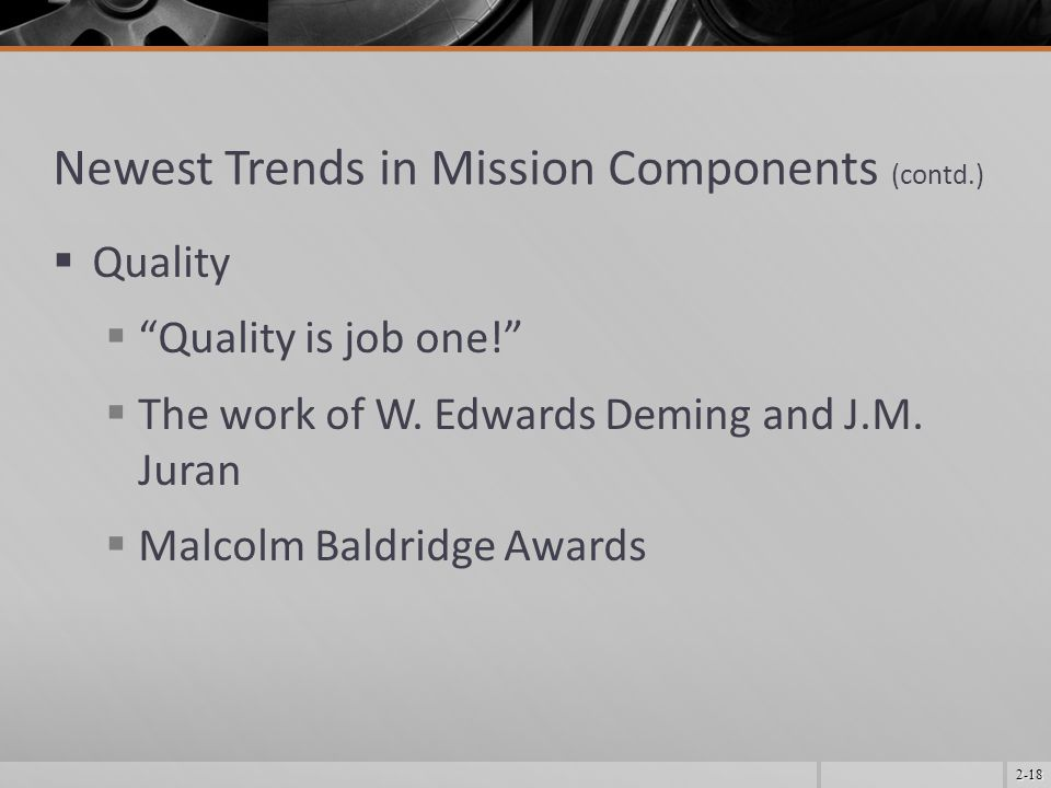 Newest Trends in Mission Components (contd.)