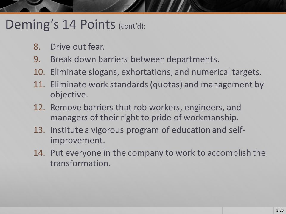 Deming's 14 Points (cont'd):