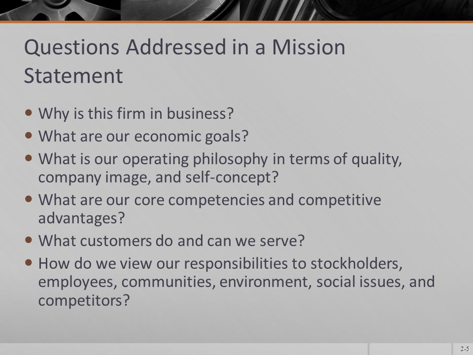 Questions Addressed in a Mission Statement
