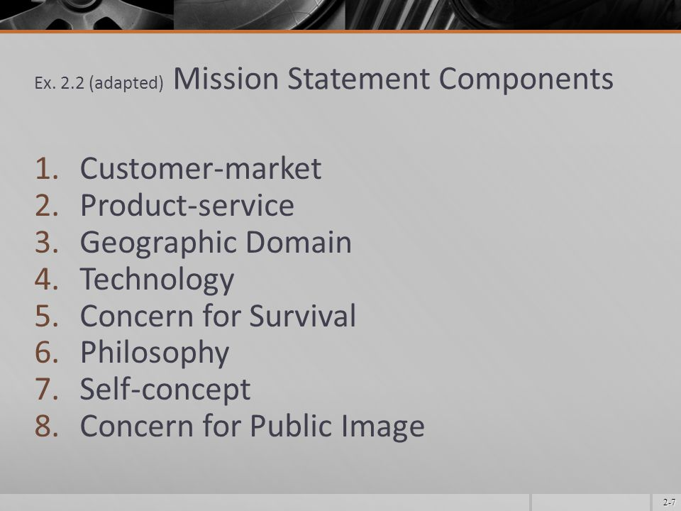 Ex. 2.2 (adapted) Mission Statement Components