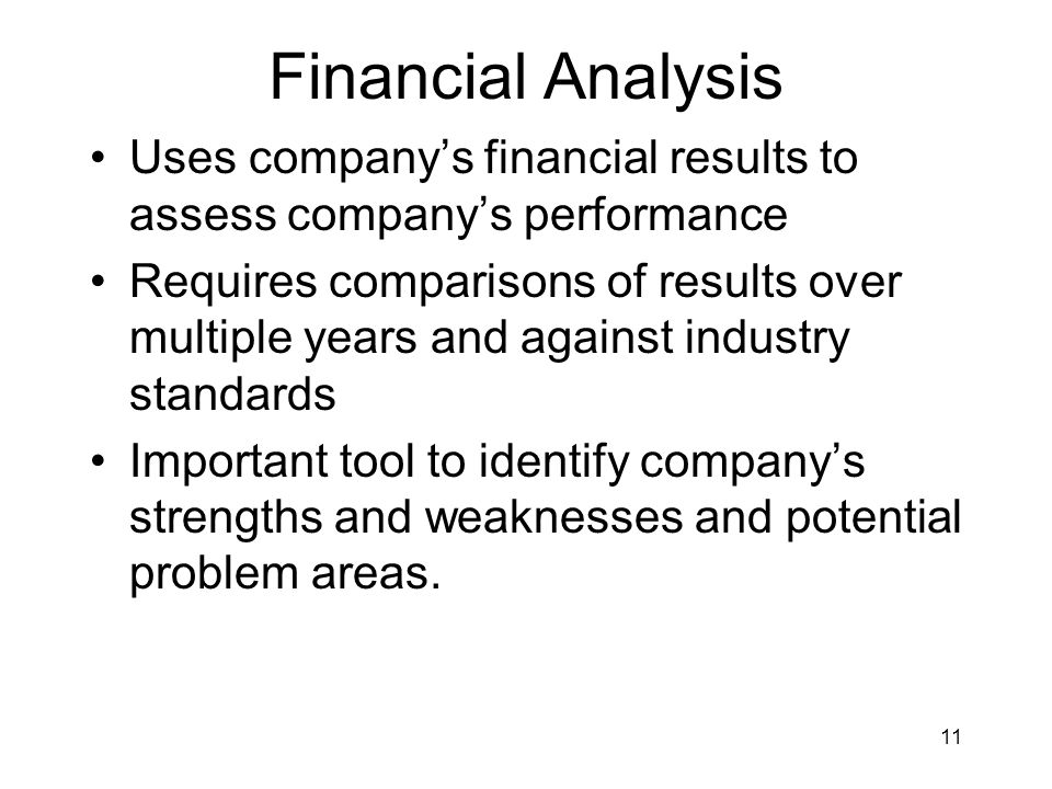 Financial Analysis Uses company's financial results to assess company's performance.