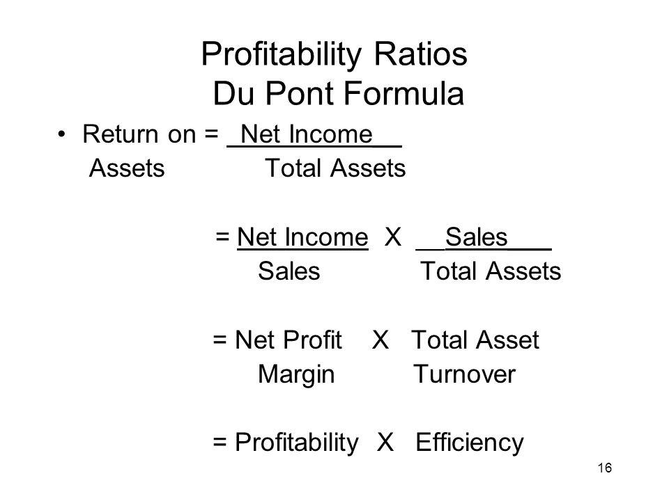 Profitability Ratios Du Pont Formula