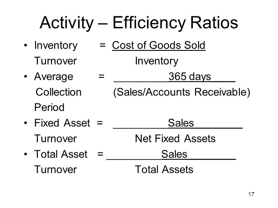 Activity – Efficiency Ratios