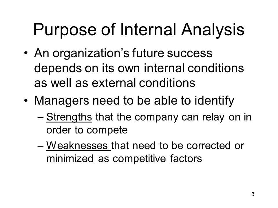 Purpose of Internal Analysis
