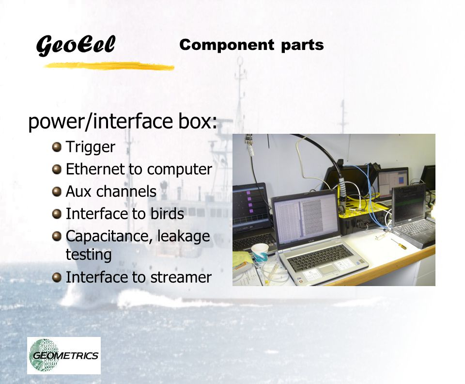 power/interface box: Component parts Trigger Ethernet to computer