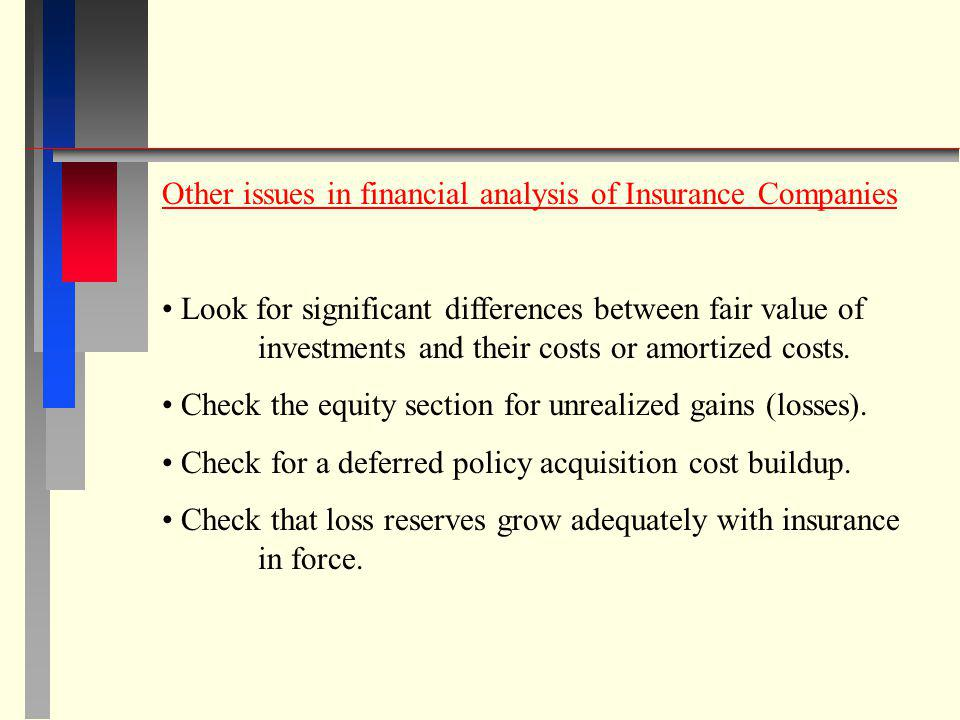 Other issues in financial analysis of Insurance Companies
