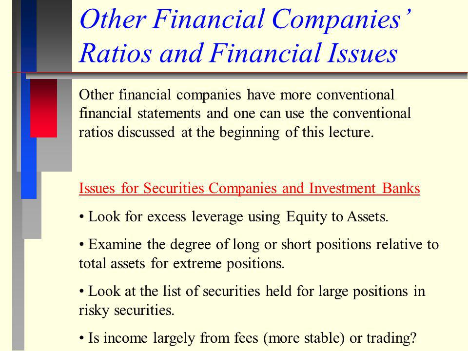 Other Financial Companies' Ratios and Financial Issues