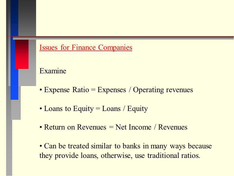 Issues for Finance Companies