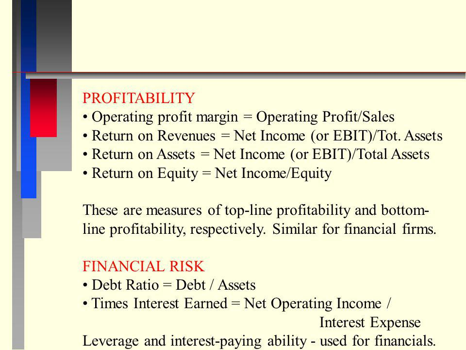 PROFITABILITY Operating profit margin = Operating Profit/Sales. Return on Revenues = Net Income (or EBIT)/Tot. Assets.