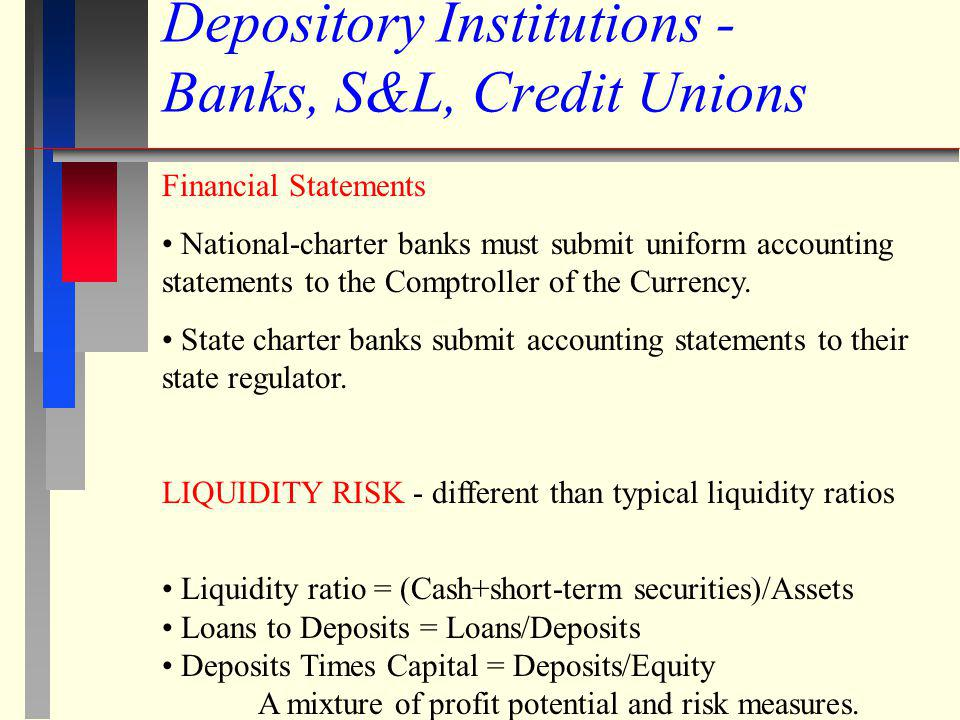Depository Institutions - Banks, S&L, Credit Unions