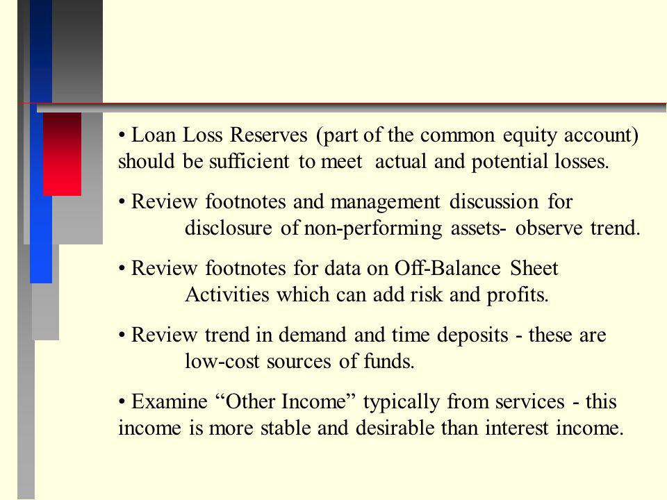 Loan Loss Reserves (part of the common equity account) should be sufficient to meet actual and potential losses.