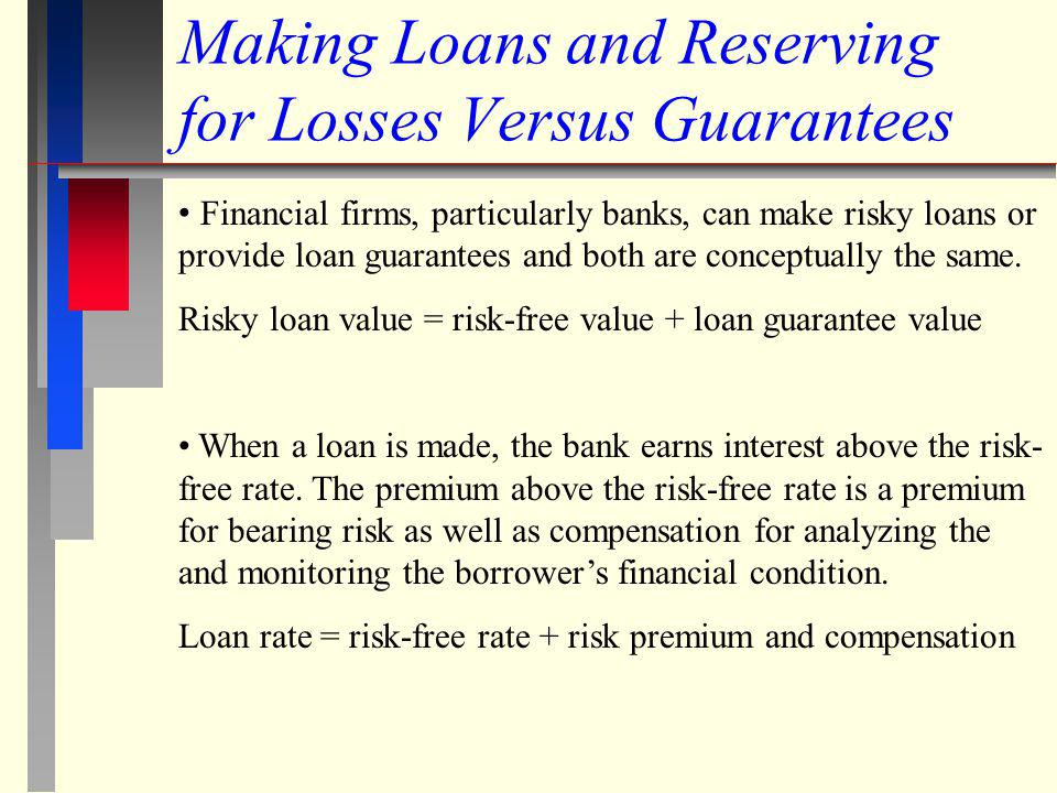 Making Loans and Reserving for Losses Versus Guarantees