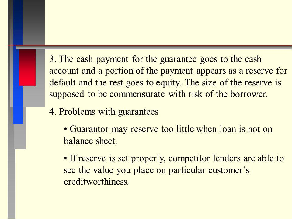 3. The cash payment for the guarantee goes to the cash account and a portion of the payment appears as a reserve for default and the rest goes to equity. The size of the reserve is supposed to be commensurate with risk of the borrower.