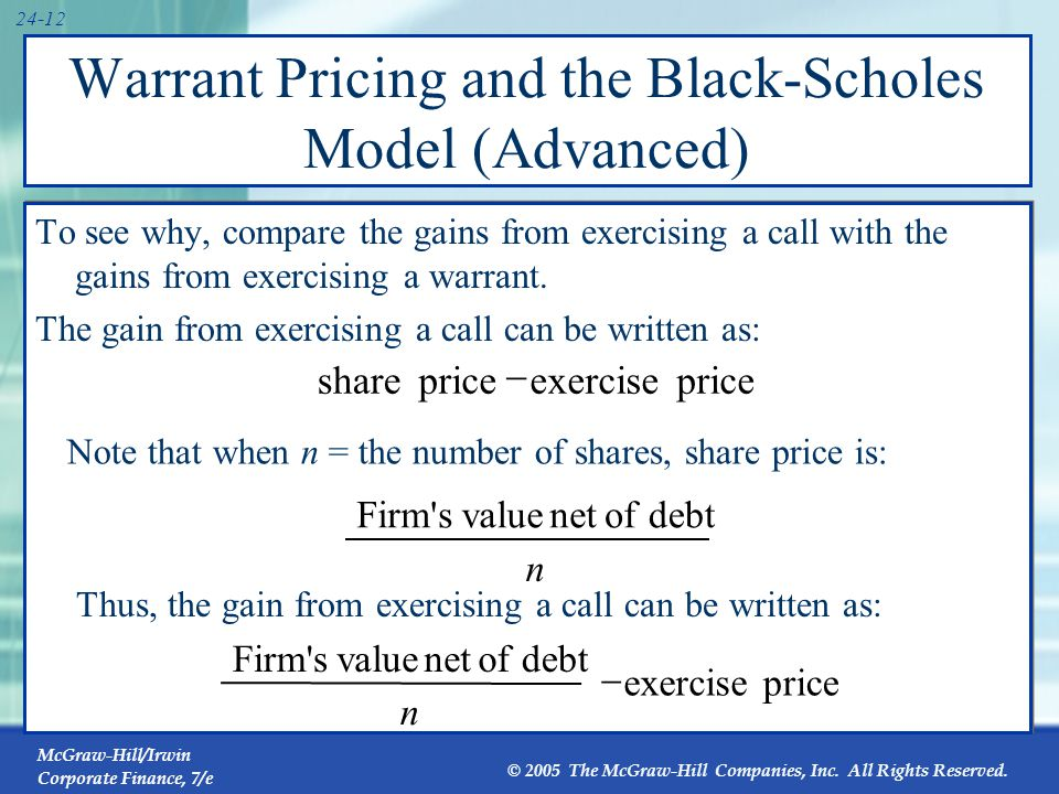 Warrant Pricing and the Black-Scholes Model (Advanced)