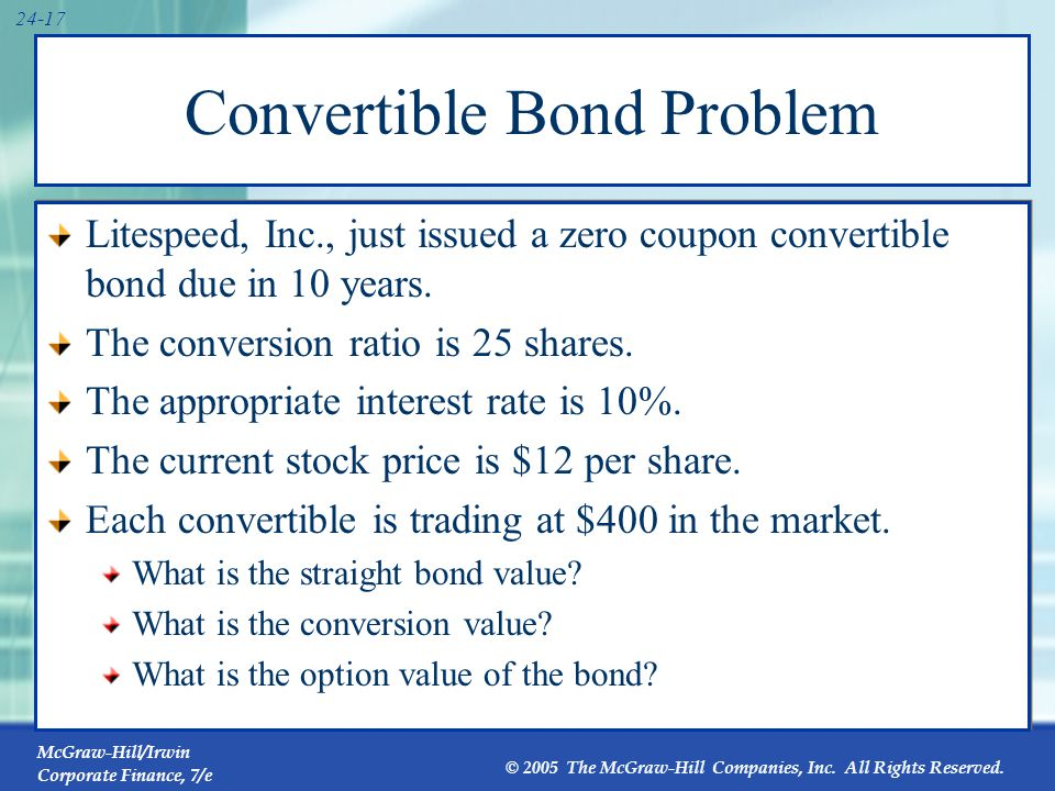 Convertible Bond Problem (continued)