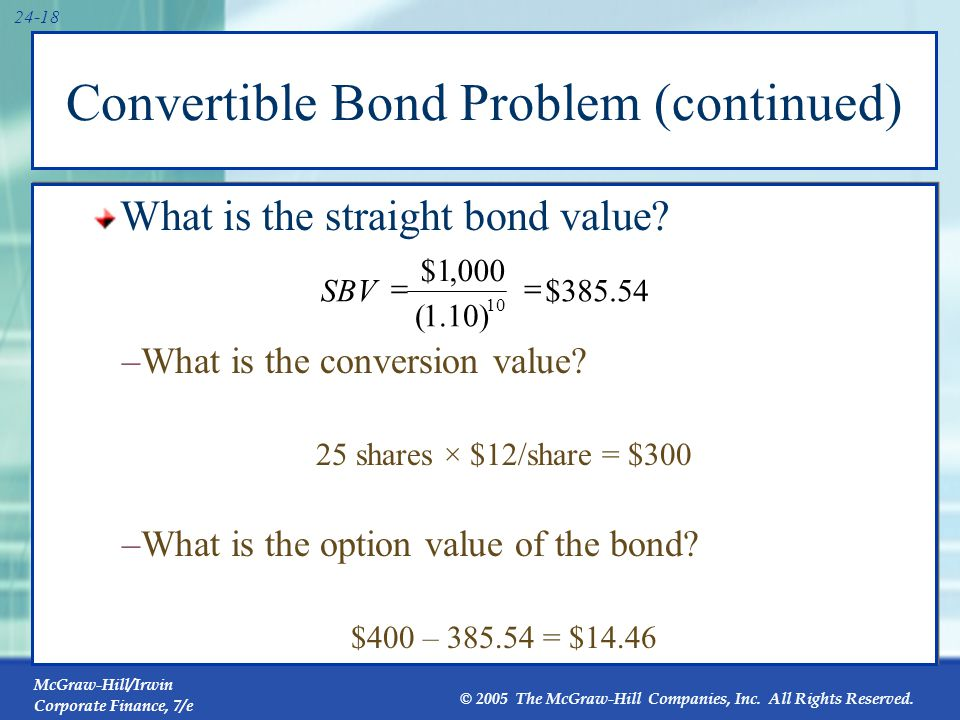 24.5 The Value of Convertible Bonds