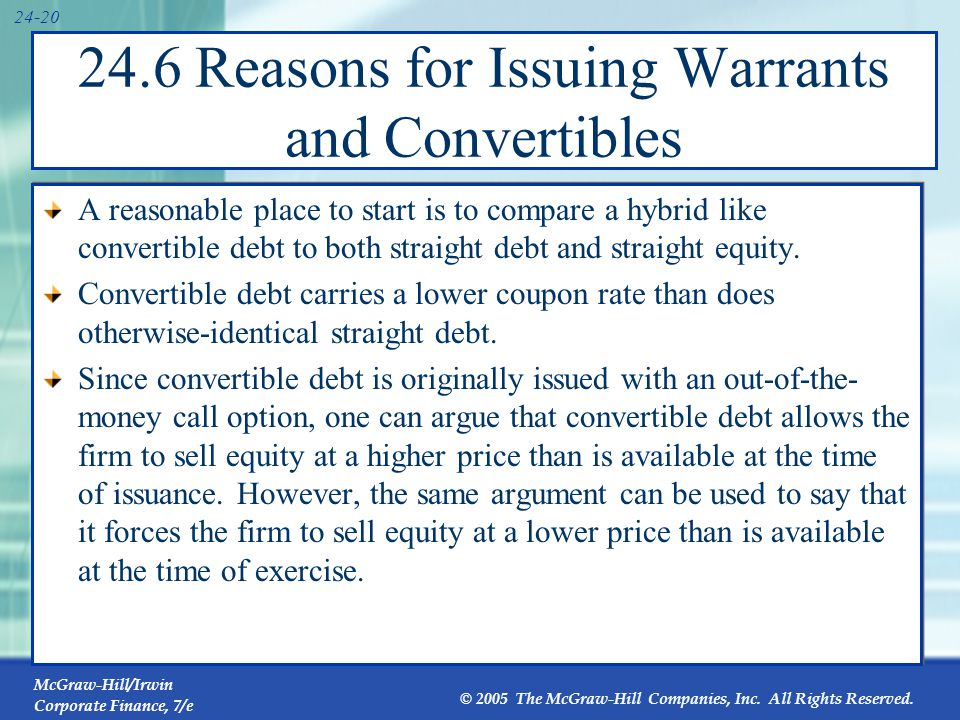 Convertible Debt vs. Straight Debt