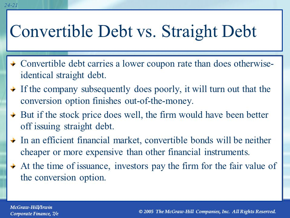 Convertible Debt vs. Straight Equity