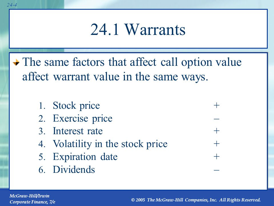 24.2 The Difference Between Warrants and Call Options