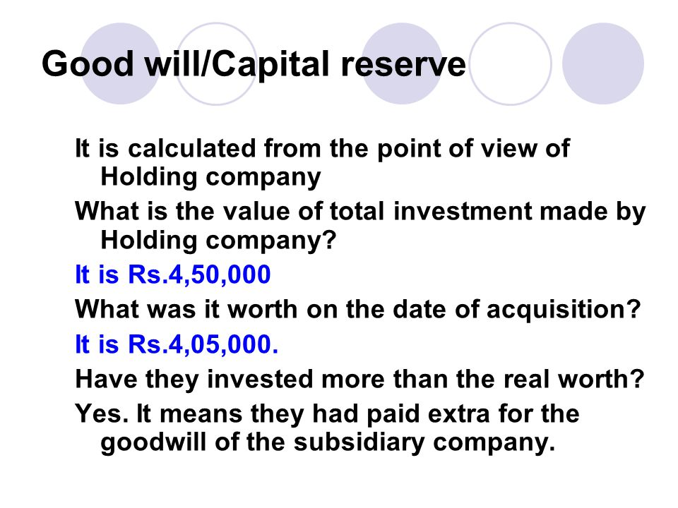 Good will/Capital reserve