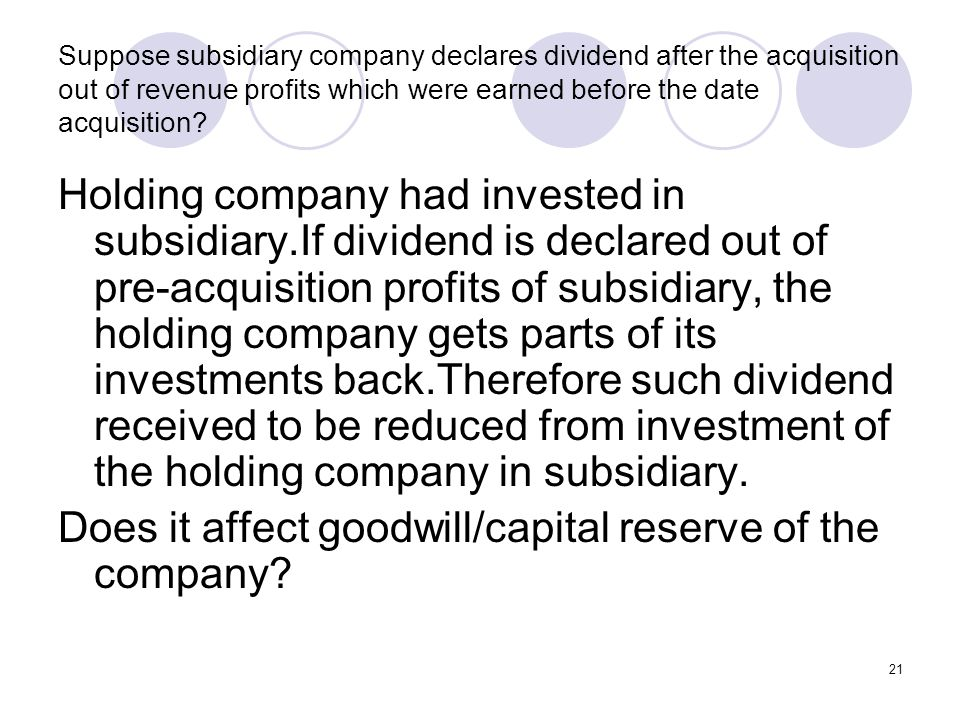Does it affect goodwill/capital reserve of the company
