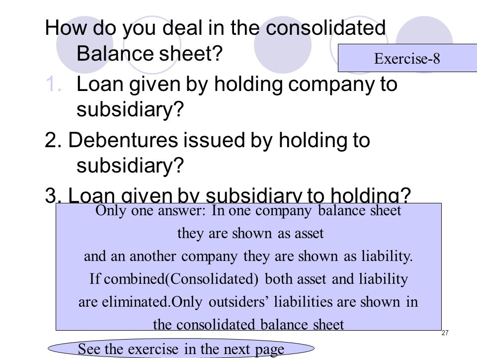 How do you deal in the consolidated Balance sheet