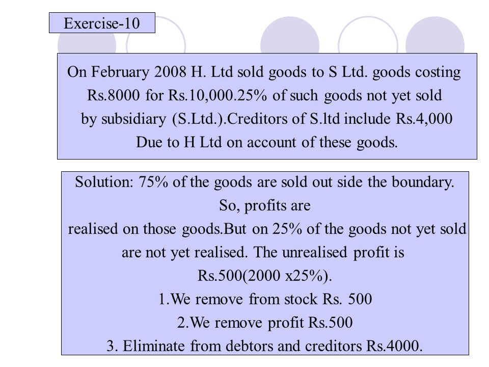 On February 2008 H. Ltd sold goods to S Ltd. goods costing