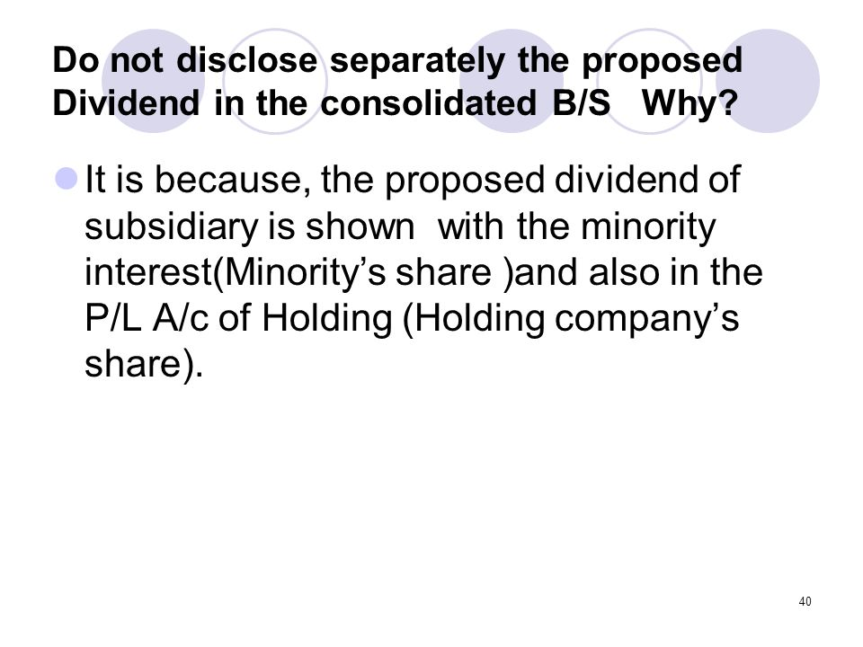 Do not disclose separately the proposed Dividend in the consolidated B/S Why