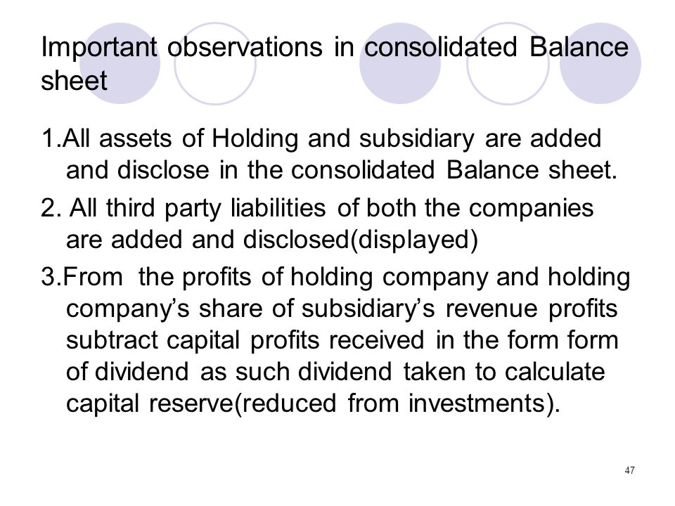 Important observations in consolidated Balance sheet