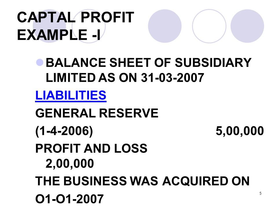 CAPTAL PROFIT EXAMPLE -I