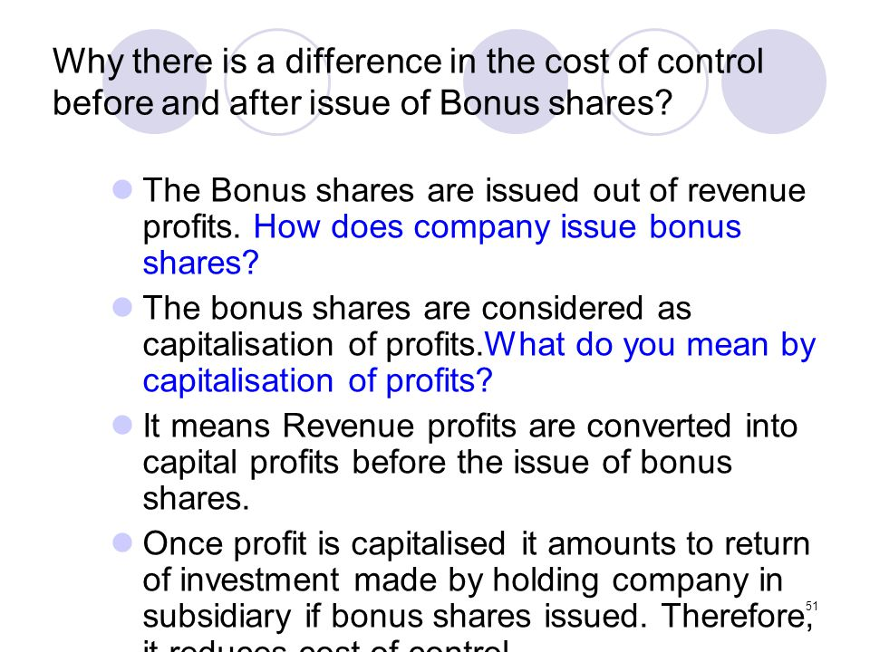 Why there is a difference in the cost of control before and after issue of Bonus shares