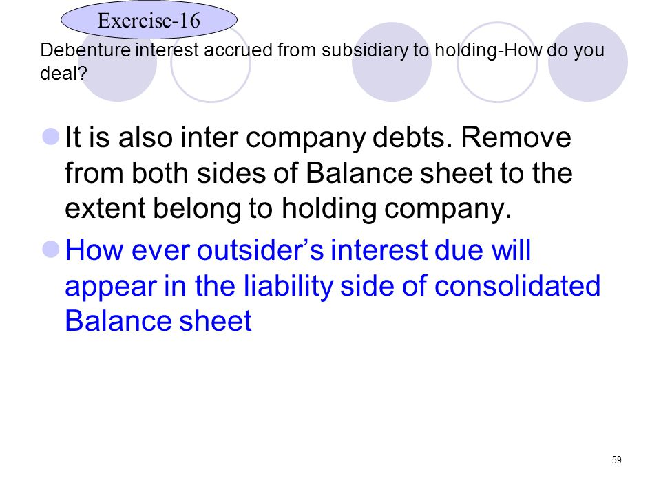 Debenture interest accrued from subsidiary to holding-How do you deal